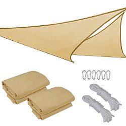 2x 16.5′ Triangle Sun Shade Sail Patio Deck Beach Garden Yard Outdoor Canopy Cover UV Bloc ...