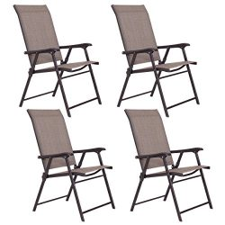 Giantex Patio Folding Sling Chairs Furniture Camping Deck Garden Pool Beach (Set Of 4)