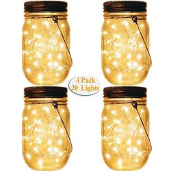 Mason Jar Tiki Solar Lanterns Lights,4 Pack 20 Leds Starry Star Fairy Firefly Jar Lights,for Out ...