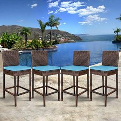 Super Deal Outdoor Upgraded All Weather Wicker Bar Stools with Cushions, Patio Furniture Bar Sto ...