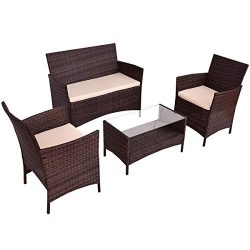 Goplus 4 PC Rattan Patio Furniture Set Garden Lawn Sofa Cushioned Seat Wicker Sofa (Mix Brown)