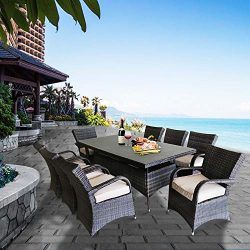 Patioption 9 Pieces (8 Seats) Outdoor Patio Furniture Dining Tempered Glass Table Sets, All-Weat ...
