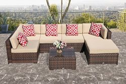 Super Patio Outdoor Furniture Sectional Set, 7 Piece Patio Furniture Sectional Sofa Set, All Wea ...