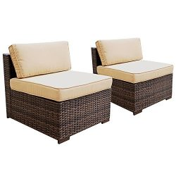 PATIOROMA Patio Loveseat Wicker Armless Chairs, All Weather Brown PE Wicker Sofa Chair,Additiona ...