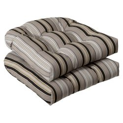 Pillow Perfect Indoor/Outdoor Black/Beige Striped Wicker Seat Cushions, 2-Pack