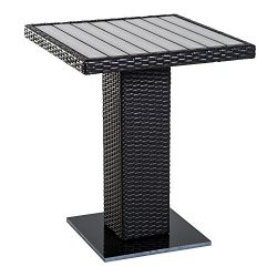 Outsunny 24″ Outdoor Wicker Rattan Patio Dining Table Square Marble Base – Brown