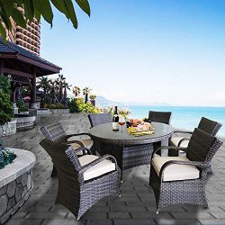 Patioption 7 Pieces (6 Seats) Outdoor Patio Furniture Dining Tempered Glass Table Sets, All-Weat ...
