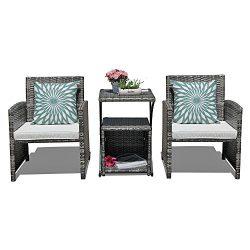 Orange Casual 4 Pieces Outdoor Wicker Patio Bistro Set Weather Resistant Patio Rattan Furniture  ...