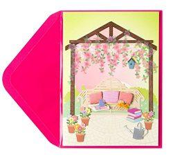 Mothers Day Card Garden Gazebo w Bench