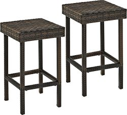 Crosley Furniture Palm Harbor Outdoor Wicker 24-inch Stools – Brown (Set of 2)