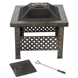 Pure Garden Fire Pit Set, Wood Burning Pit -Includes Screen, Cover and Log Poker- Great for Outd ...