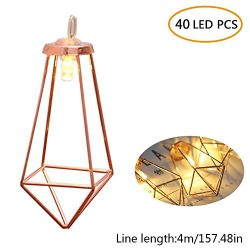 Aolvo 40 LED Rose Gold Geometric Fairy Lights, Minimalist String Lights Metal Led Lantern Bistro ...