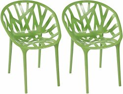 Mod Made Branch Cut Out Dining Chair Stackable, Green, Set of 2