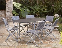 Cosco Outdoor Dining Set with Chair Storage, Folding, 7 Piece, Navy and Gray Resin Wicker