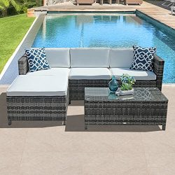 PATIOROMA 5pc Outdoor PE Wicker Rattan Sectional Furniture Set with Cream White Seat and Back Cu ...