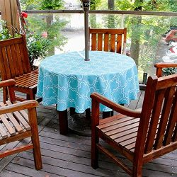 cheerfullus Round Tablecloth with Umbrella Hole,Patio Outdoor Waterproof Stain Resistant Spillpr ...