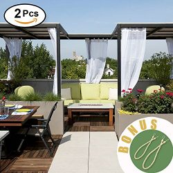 NICETOWN Outdoor Curtains for Pergola – Soft and Thin Fabric Mildew Resistant Sheer Voile  ...