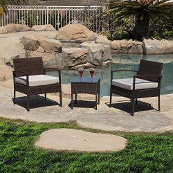 Belleze 3pc Patio Set Furniture Outdoor Sofa Cushion Seat Wicker Set Rattan Backyard Chairs w/Co ...