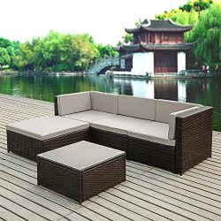 iKayaa 5PCS Rattan Wicker Patio Sofa Set Garden Furniture W/ Cushions Outdoor Corner Sectional C ...
