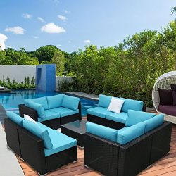 Peach Tree 9 PCs Outdoor Patio PE Rattan Wicker Sofa Sectional Furniture Set With 2 Pillows and  ...