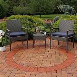 Sunnydaze Bita 3-Piece Wicker Rattan Lounger Patio Furniture Set Dark Blue Cushions