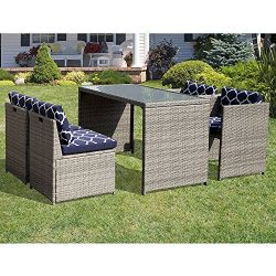 Orange Casual Patio Wicker Dining Set 5 Pieces Outdoor Furniture Sets Garden Lawn Rattan Sofa Cu ...