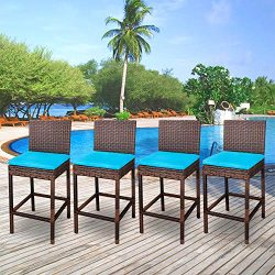 ZENY Set of 4 Wicker Barstool All Weather Dining Chairs Outdoor Patio Furniture Bar Stool Brown  ...