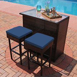 Sunnydaze Melindi 3-Piece Wicker Rattan Outdoor Patio Bar Set with Blue Cushions