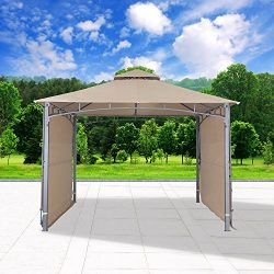 Cloud Mountain Outdoor Gazebo Patio Gazebo With Two Side Sunshade Walls Privacy Curtain Patio BB ...