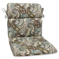 Pillow Perfect Outdoor Tamara Paisley Quartz Rounded Corners Chair Cushion