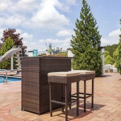 Sunnydaze Melindi 3-Piece Wicker Rattan Outdoor Patio Bar Set Tan Cushions