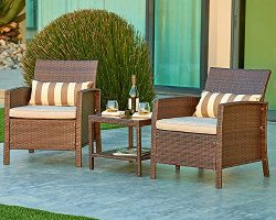 Suncrown Outdoor Modular Furniture Wicker Chairs with Glass Top Table (3-Piece Set) All-Weather  ...