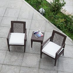 AURO Brisbane Outdoor Furniture | 3 Piece Rattan Patio Set | All-Weather Brown Wicker Bistro Set ...