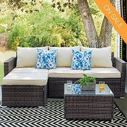Patio Furniture Sectional Sofa Set – 3 Piece All Weather Resin Wicker Outdoor Conversation Set B ...