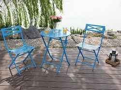 Captiva Designs Outdoor Patio Stable Steel Bistro Folding Table and Chair Furniture 3 Set,Blue