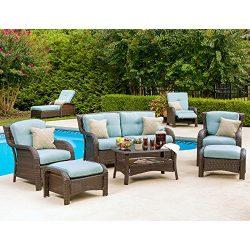Hanover Outdoor Strathmere 6-Piece Lounge Set, Ocean Blue