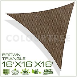 ColourTree 2nd Gen 16′ x 16′ x 16′ Brown Sun Shade Sail Triangle Canopy – UV R ...