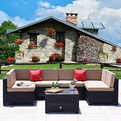Cloud Mountain 7 Piece Outdoor Patio Rattan Wicker Sectional Sofa Set Backyard Furniture Set Out ...