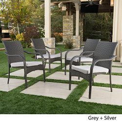 San Miguel | Wicker Stacking Outdoor Dining Chairs | Set of 4 | Perfect for Patio | Grey