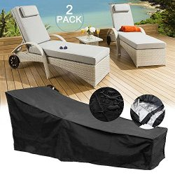 feifei 2 Pack Waterproof Patio Chaise Lounge Covers Durable & Discoloration Resistance Fabri ...