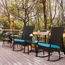 Kinbor 3PCS Outdoor Rattan Rocker Chair Side Tea Table Set Garden Rocking Wicker Lounge w/Remova ...