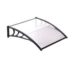 Uenjoy 47″ x 39″ Outdoor Clear Awning Polycarbonate Rain Canopy Shelter Door Window  ...