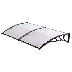Uenjoy 118″ x 39″ Outdoor Clear Awning Polycarbonate Rain Canopy Shelter Door Window ...