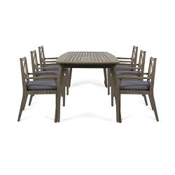 Great Deal Furniture Harvey Outdoor 7 Piece Acacia Wood Dining Set, Gray