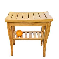 OUTDOOR DOIT Bamboo Shower Bench Seat with Storage Shelf, Spa Stool Bath, Bamboo Shower Stool Co ...