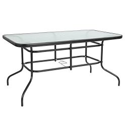 Flash Furniture 31.5″ x 55″ Rectangular Tempered Glass Metal Table