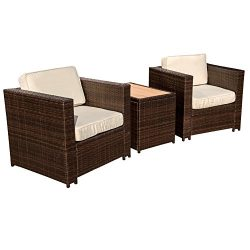 Sundale Outdoor 3 Piece Aluminum Wicker Chat Set – All Weather Chat Group with Cushions,Da ...