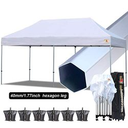 ABCCANOPY PRO Ez Pop up Canopy Tent Commercial Instant Gazebos with Roller Bag and Weight Bag (1 ...