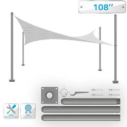 Patio Sun Shade Sail Pole 9′ Feet Tall (108″) Stand Post -Heavy-Duty Awning, Knitted ...