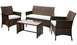 Leisure Zone 4 PC Rattan Patio Furniture Set Wicker Conversation Set Garden Lawn Outdoor Sofa Se ...